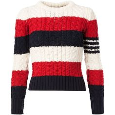 Thom Browne Cable Knit Striped Sweater (954,765 KRW) ❤ liked on Polyvore featuring tops, sweaters, blue, stripe top, striped wool sweater, striped sweater, blue striped sweater and stripe sweater