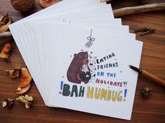 Vegan Christmas Card Set 5 pieces Eating friends on by mishishki