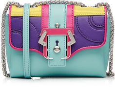 PAULA CADEMARTORI COLOR BLOCK LEATHER SHOULDER BAG  THE BEST! #COOL BAG Always Love this! Anyoneelse love it as much as i do? #FASHION #RAINBOW #LUXURY