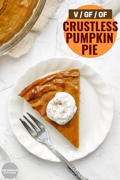 This Crustless Vegan Pumpkin Pie is so creamy & flavourful. A must have holiday dessert thats gluten free, made with 8 ingredients and secretly healthy. Dairy Free Pumpkin Pie, Vegan Pumpkin Pie, Vegan Pie, Pumpkin Pie Recipes, Vegan Gluten Free Desserts, Delicious Vegan Recipes, Vegan Comfort Food, Vegan Thanksgiving, Super Clean
