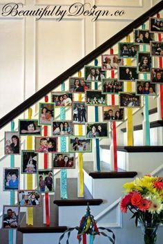 Show off how your graduate has grown over the years with a staircase photo display.