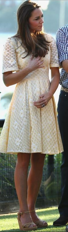 Kate Middleton in Rebecca English yellow lace short sleeve dress and Stuart Weitzman nude platform wedge sandals
