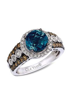 Le Vian Blue Topaz Ring with Diamonds in 14 Kt. White Gold