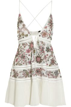 Roberto Cavalli | Python-trimmed embellished silk-georgette mini dress | NET-A-PORTER.COM