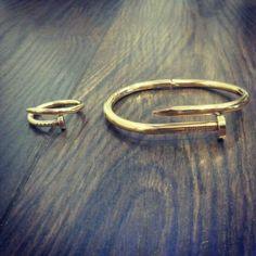 aa1497723cd4 pulsera y anillo tipo clavo cartier en acero