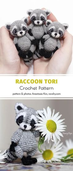 Are you an amigurumi maniac always looking for original patterns? We bet you are! How about a trip to the woods? Charming Raccoons are waiting for you! Crochet Amigurumi Free Patterns, Crochet Animal Patterns, Crochet Bear, Loom Patterns, Crochet Dolls, Free Crochet, Crochet Crafts, Crochet Projects, Crochet For Beginners