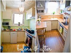 Tiny Kitchen Renovation with Faux Painted Brick Backsplash