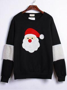 Sweatshirt Rundhals mit Weihnachtsmann Stickereien-schwarz 15.80
