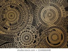 Mandala movement in golden lines on black background. Fabric Wall Art, Canvas Fabric, Canvas Wall Art, Art Mural Tissu, Wallpaper Computer, Mandala Drawing, Royalty Free Photos, Black Backgrounds, How To Introduce Yourself