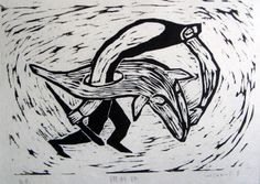 Woodcut Hiromi Sumida  「調教師」