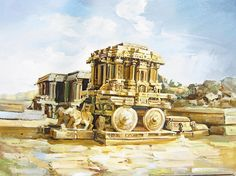 K N Ramachandran's Life of Color » Paintings and Art Gallery » Temple