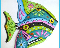 Hand Painted Metal Wall Art, A delightful collection of hand painted metal wall hangings - Whimsical - Funky Art - Tropical Home Decor - Garden Art Decorative metal outdoor garden decor - Patio Art - Handcrafted from recycled steel drums in Haiti Art Tropical, Design Tropical, Tropical Wall Decor, Tropical Interior, Tropical Furniture, Tropical Colors, Tropical Artwork, Tropical Outdoor Wall Art, Coastal Decor