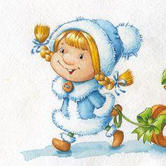 снегурка Christmas Paintings, Christmas Art, Christmas Decorations, Xmas, New Year Art, Snow Maiden, Winter Illustration, Happy New Year Cards, Snowshoe