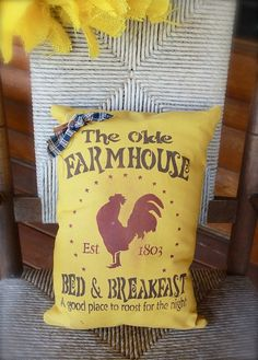 The Olde Farmhouse Bed and Breakfast Mustard Country Pillow with Rooster. $20.00, via Etsy.