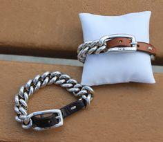 Equestrian Inspired Cadena Chain and Leather Bracelet from Caracol Inspired Jewelry