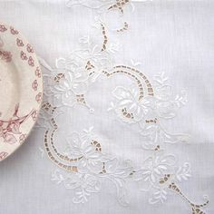 Vintage Tablecloth White Linen Embroidery by RosaMeyerCollection