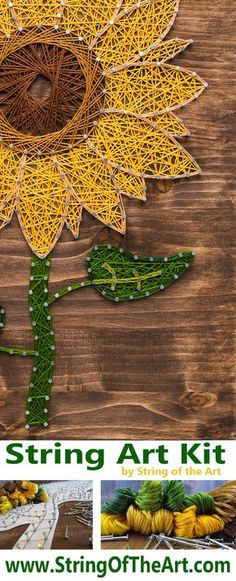 Create this beautiful Sunflower String Art Kit that way you can hang it up for display. The Sunflower's eye popping colors nailed to a beautiful piece of stained wood is unique home decor that only yo More