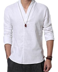 Shop a great selection of Cafuny Men's Casual Long Sleeve Solid Gentle Style Natural Linen Popover Shirt. Find new offer and Similar products for Cafuny Men's Casual Long Sleeve Solid Gentle Style Natural Linen Popover Shirt. Kurta Men, Shirt Sleeves, Shirt Style, Casual Shirts, Shirt Designs, Men Sweater, Men Casual, Mens Fashion, Mens Tops