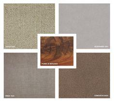 Fabrics: Tricot 801 and Enea 1523 Velvet: Eldorado 1551 Suede: 6003 Feather Mahogany