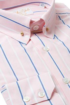 Mens Pink Navy Striped Pin Collar Shirt