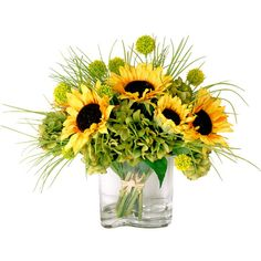 Let these lovely faux sunflowers add a touch of color to a crisp, all-white kitchen or set them in your powder room for an inviting ambiance.