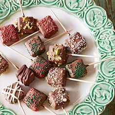 Candy-Box Caramels...store bought caramels dipped in chocolate and toffee, nuts, or sprinkles.  http://www.bhg.com/recipe/candy/candy-box-caramels/