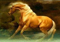 """Gullfaxi, un caballo mágico cuyo nombre significa """"crines doradas"""".  Su dueño era el gigante Hrungnir y el caballo era igual de veloz tanto en la tierra como en el aire y en el agua. En una ocasión el gigante desafío a Odín a competir con su corcél Sleipnir. Odín le ganó sacándole gran ventaja en la carrera, hecho que luego haría que el gigante se enfureciera y desafiara a los dioses."""