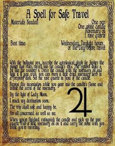 Magick Spells: A Spell for Safe Travel. Wiccan Spell Book, Witch Spell, Pagan Witch, Witches, Spell Books, Magick Spells, Wicca Witchcraft, Real Spells, Voodoo Spells