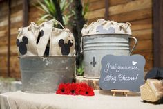 Mickey Mouse Kids Party, burlap goodie bags, mickey mouse ears