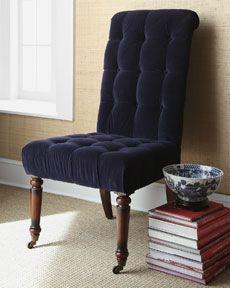 deep blue velvet chair from Horchow