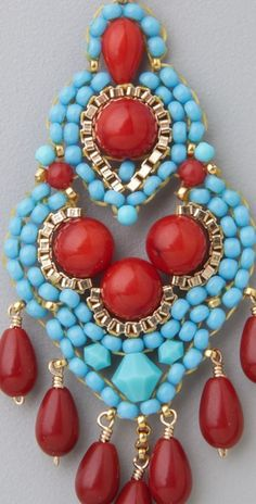 Miguel Ases Turquoise & Coral Mini Chandelier Earrings | SHOPBOP