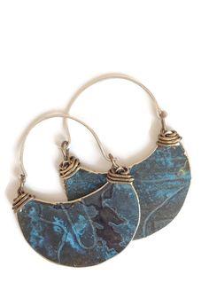 Crescent earrings. Blue earrings. Boho earrings. earring holder.Dangle Drop Earring.hoop Earrings. Half moon earrings. Boho jewelry