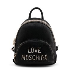 Love Moschino - Product description: Gender:Woman Type:Backpack Material:synthetic leather Main fastening:zip Handles:pack handlepadded shoulder straps compartment Internal External Width Height Depth Details:with studsdustbag includedvisible logo Studded Backpack, Black Leather Backpack, Moschino Bag, Bags For Sale Online, Designer Backpacks, Rucksack Backpack, Luxury Bags, Bracelets For Men, Clutch Bag