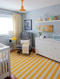 Love the use of colors in this nursery! Traditional Nursery & Kids Bedroom Design Photo by Alykhan Velji Designs #baby #nursery #yellownursery #beautifulnursery #colorfulnursery #affiliate #nurseryideas