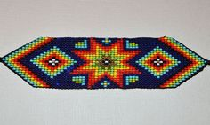 Glass Seed Bead Loom Work Bracelet, Colombian Beadwork #Colombian