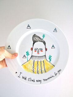 Hand bemalte Teller, ich wird jeden Berg besteigen, für Sie