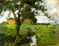 Piet Mondrian - Farm scene with Tree in Foreground and Irrigation Ditch circa 1900-1902