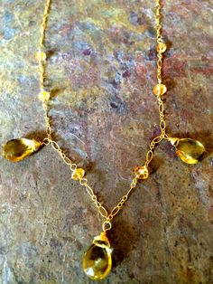 """Gold filled wire wrapped faceted citrine 18"""" necklace"""