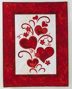 Quilt Inspiration: Free pattern day: Hearts and Valentines 2015. Keep the Heart Truth Growing free wall hanging pattern by Jane Spolar for Janome.