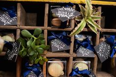 succulents & macarons for wedding favors | Matt & Ian's laid-back, homegrown Maryland wedding at Patapsco Female Institute | Images: Russ Hickman Photography