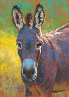 """Periwinkle"" (pastel, 7x5 inches)  donkey burro miniature portrait painting"