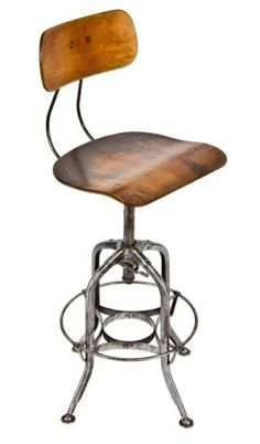"""""""uhl art steel"""" draftsman and/or factory stool manufactured by the toledo metal furniture co., toledo, oh. the stool contains the original varnished maple wood saddle type swivel seat. the distinctive steel base contains four stretchers Cool Desk Chairs, Leather Dining Room Chairs, Accent Chairs For Living Room, Study Chairs, Eames Chairs, Dining Chairs, Antique Chairs, Vintage Chairs, Seat Toledo"""