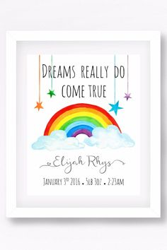 Baby Discover Rainbow Nursery Art Print Rainbow Baby Gift Gender Neutral Nursery New Baby Gift Christening Gift Baby Name Print Personalised Baby Rainbow Nursery Art Print Rainbow Baby Gift by PerfectLittlePrints Rainbow Nursery Decor, Baby Nursery Art, Baby Art, Nursery Ideas, Baby Room, Rainbow Bedroom, Bedroom Ideas, Bedroom Decor, Unusual Baby Gifts