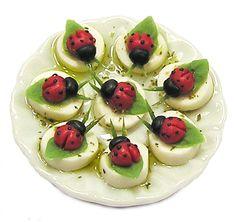 Dollhouse Miniature Plate of Tomato and Mozzarella Ladybugs  Handmade 1:12 scale #Kiva