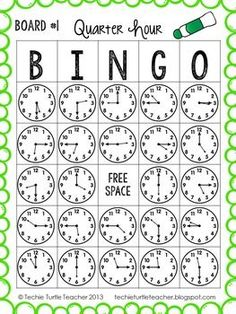 Time to the Quarter Hour Bingo - 25 Different Game Boards - CCSS Telling Time to the Quarter Hour Bingo - by Techie Turtle Teacher Telling Time Activities, Teaching Time, Teaching Math, Math Classroom, Kindergarten Math, Classroom Decor, Math Games, Math Activities, Board Games