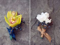 orchid and berry wedding boutonniere | photo: jenny bedard photography