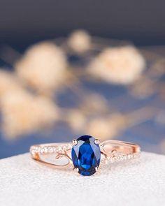 Rose Gold Engagement Ring Lab Sapphire Antique Unique Curved