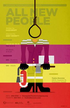 """All New People"" by Zach Braff theater poster design for Renegade Theater Company in Duluth, Minnesota (1 of 4 variants). 2014."
