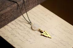 Gold Gemstone Necklace Gold Agate Necklace Boho by EmdemJewelry
