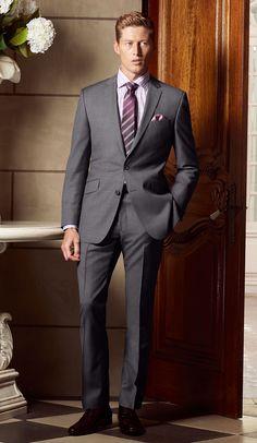 The Bondi Slim Fit suit in Super 100's Pure Australian Merino Wool (mid grey sharkskin).